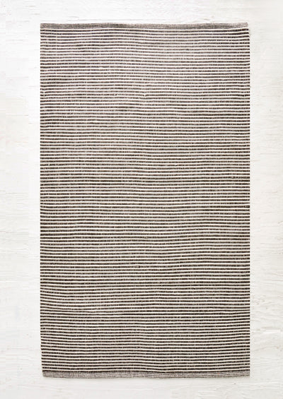 Striped flatweave rug with skinny stripes in alternating brown and ivory