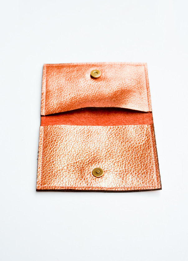 3: Geo Metallic Leather Card Case in  - LEIF