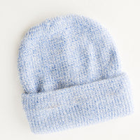 Metallic Yarn Weave Beanie in Blue - LEIF