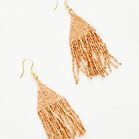 Copper: Metallic copper triangular fringe beaded earrings.