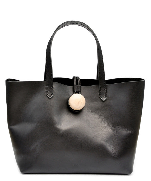 Black: Minimalist East-West Tote in Black - LEIF