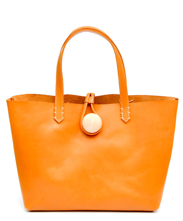 Tan: Minimalist East-West Tote in Tan - LEIF
