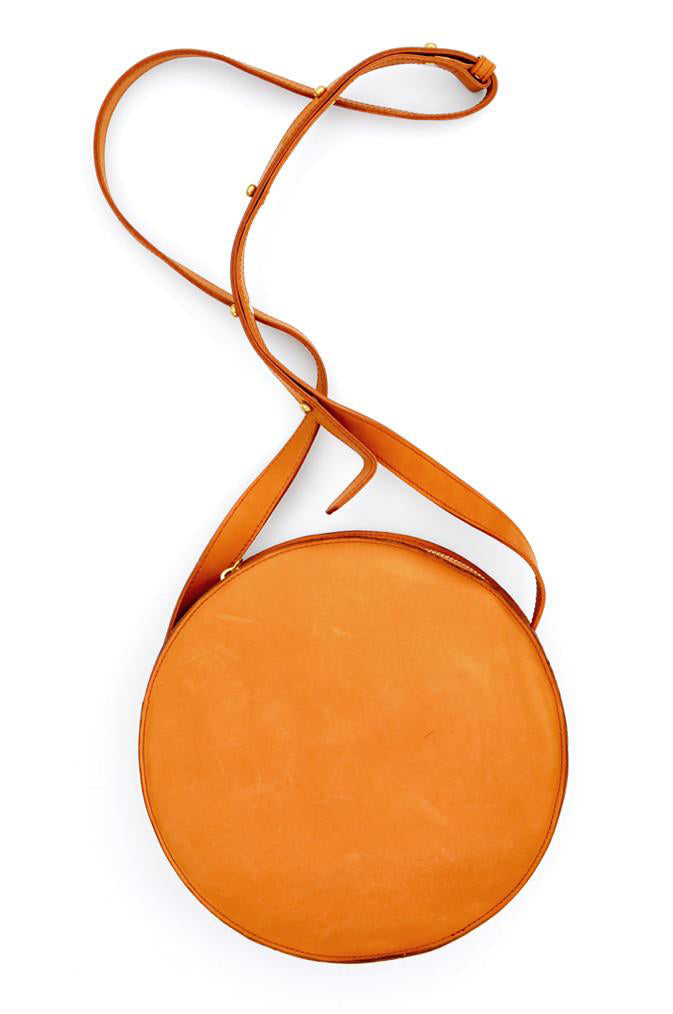 Minor History Full Moon Circular Crossbody Handbag in Oiled Saddle Leather