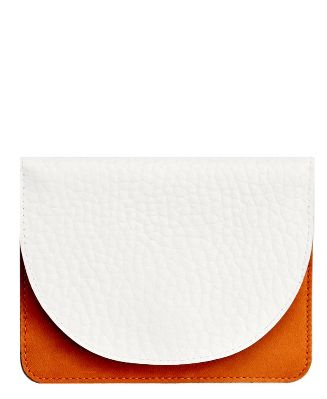 Saddle / White: Lunette Half Moon Wallet - LEIF