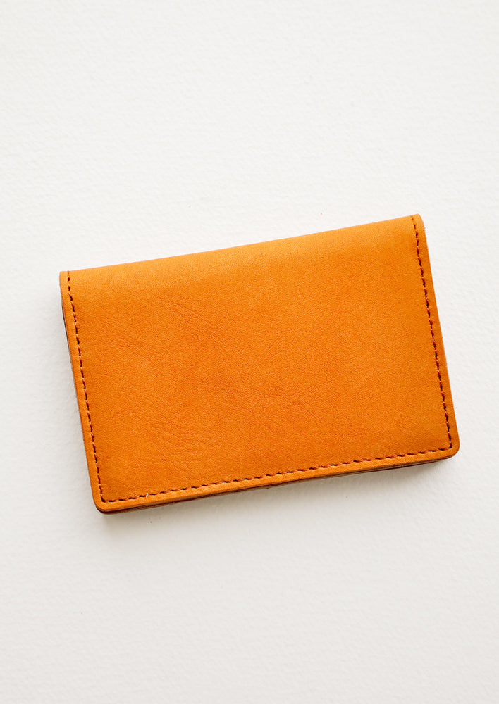 Oiled Saddle: Oyster Petite Leather Wallet in Oiled Saddle - LEIF