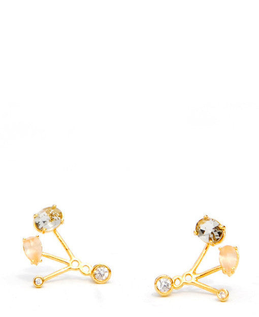 1: Mixed Gem Ear Jacket Earrings in  - LEIF
