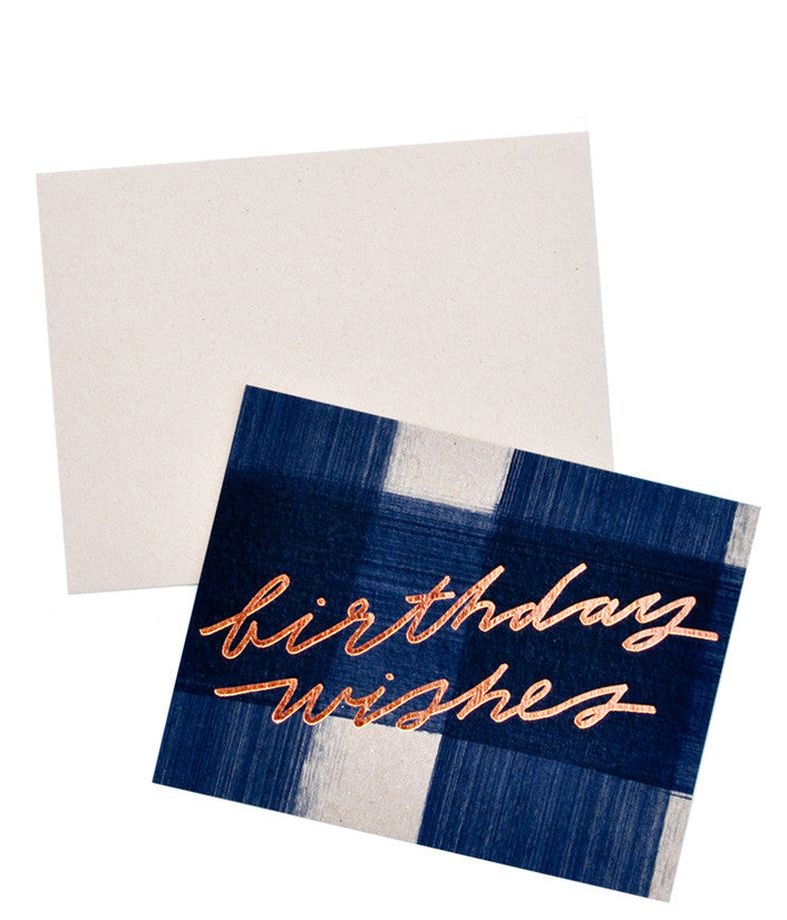 Brushed Check Birthday Card - LEIF