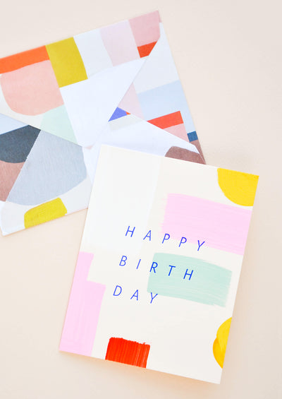Colorstroke Happy Birthday Card