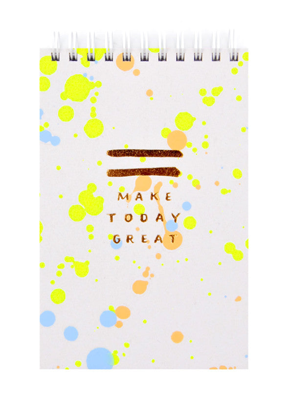 Neon Yellow / Blue: Splattered Jotter Spiral Notepad in Neon Yellow / Blue - LEIF