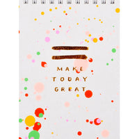 Neon Coral / Red: Splattered Jotter Spiral Notepad in Neon Coral / Red - LEIF