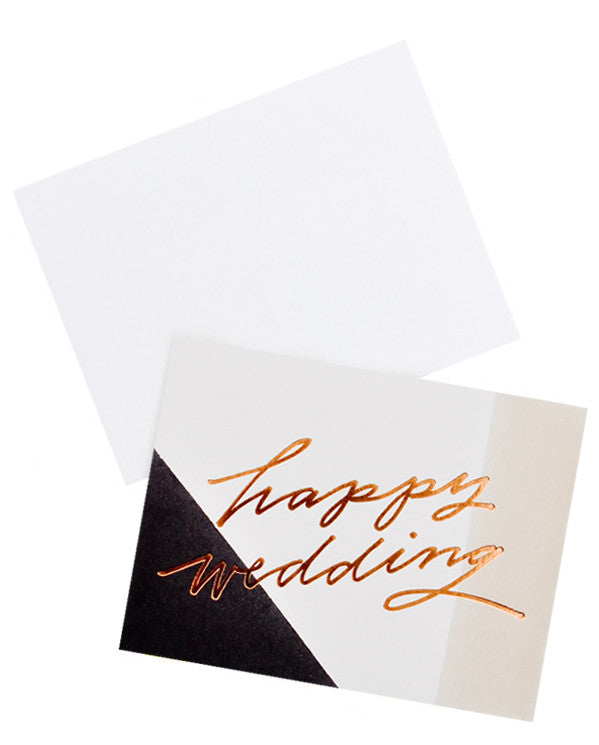 "2: Notecard with tricolor decoration and the words ""happy wedding"" in metallic script, with white envelope."