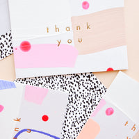 "1: Set of thank you cards hand painted in colorful abstract pattern with gold foil ""Thank you"" text"