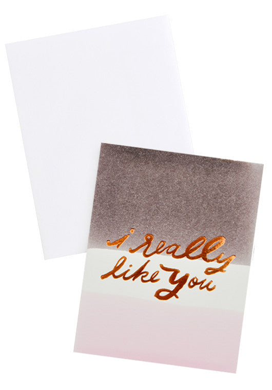 "3: ""i really like you"" greeting card with gradient background shown with white envelope"