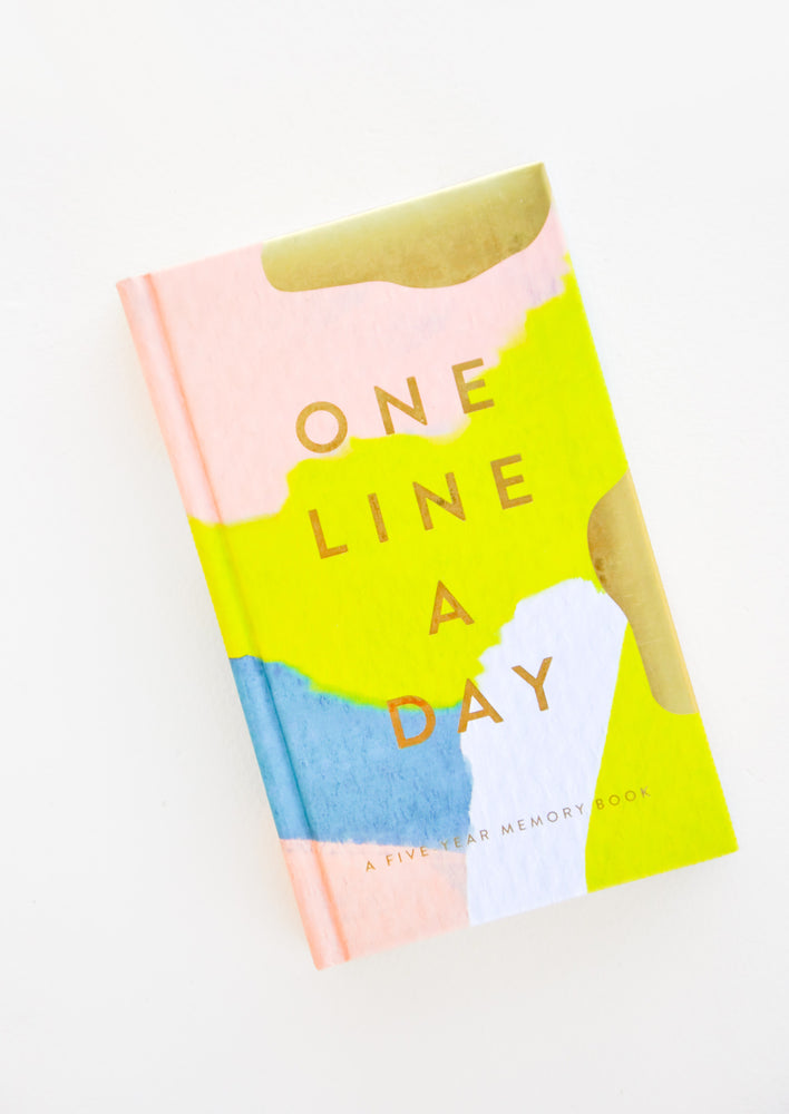 "1: Front of a journal decorated with the colors pink, gold, blue and green, and the text ""One Line A Day"""