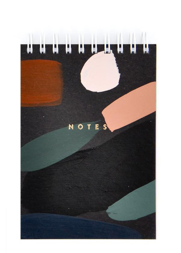 Black Multi / Small: Paintstroke Spiral Notepad in Black Multi / Small - LEIF