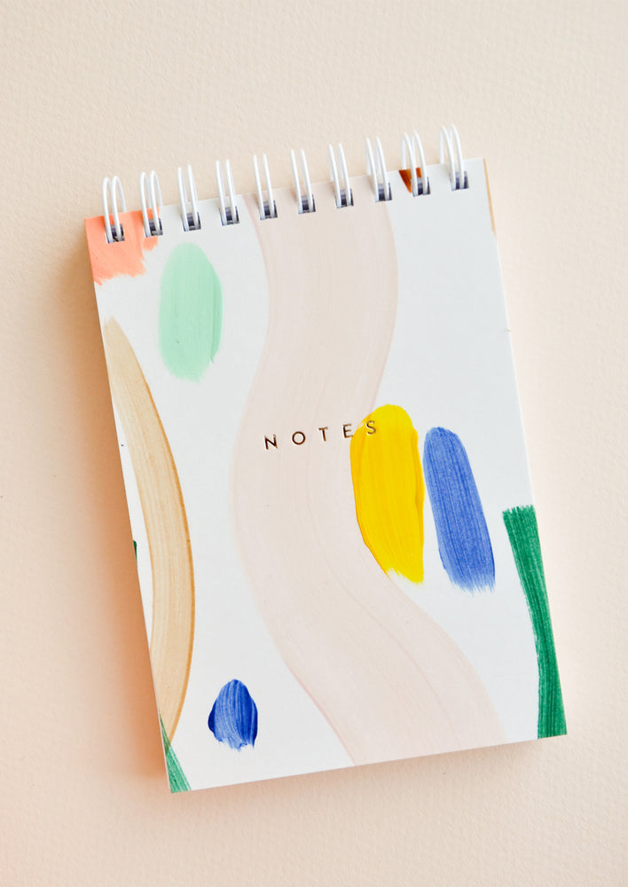 White Multi / Small: Paintstroke Spiral Notepad in White Multi / Small - LEIF
