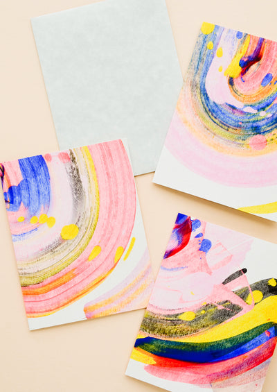 Set of all purpose greeting cards with hand painted, colorful swirl patterns on front