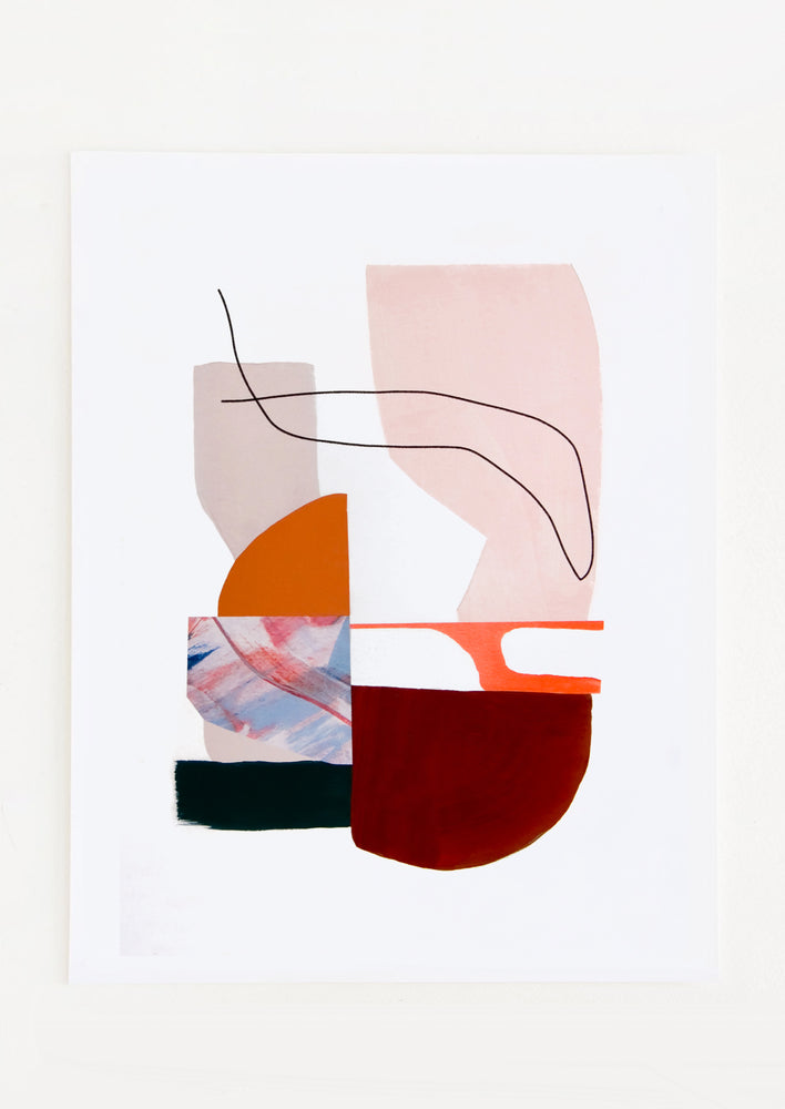 1: Abstract art print with a collage-like mix of shapes and lines in warm hues