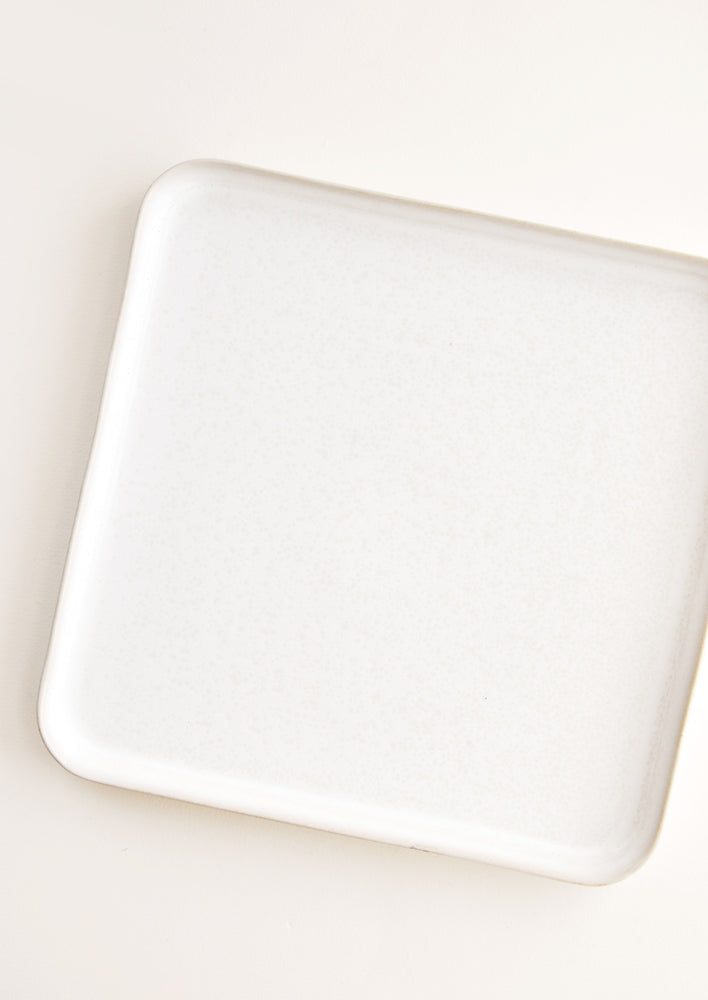 1: Square Ceramic Tray with Lipped Edge in Ivory.