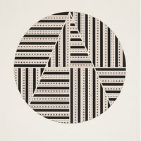 1: Artwork with off-white background and black & white, lasercut circle in center