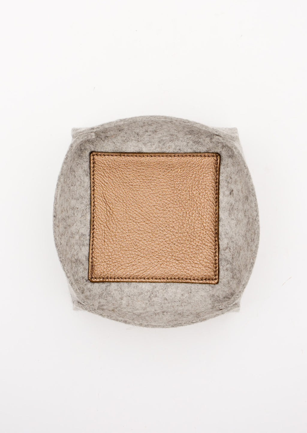 Large / Heather Grey: Felt & Leather Catchall Tray in Large / Heather Grey - LEIF