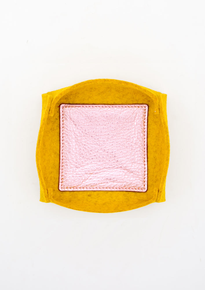 Medium / Mustard: Felt & Leather Catchall Tray in Medium / Mustard - LEIF