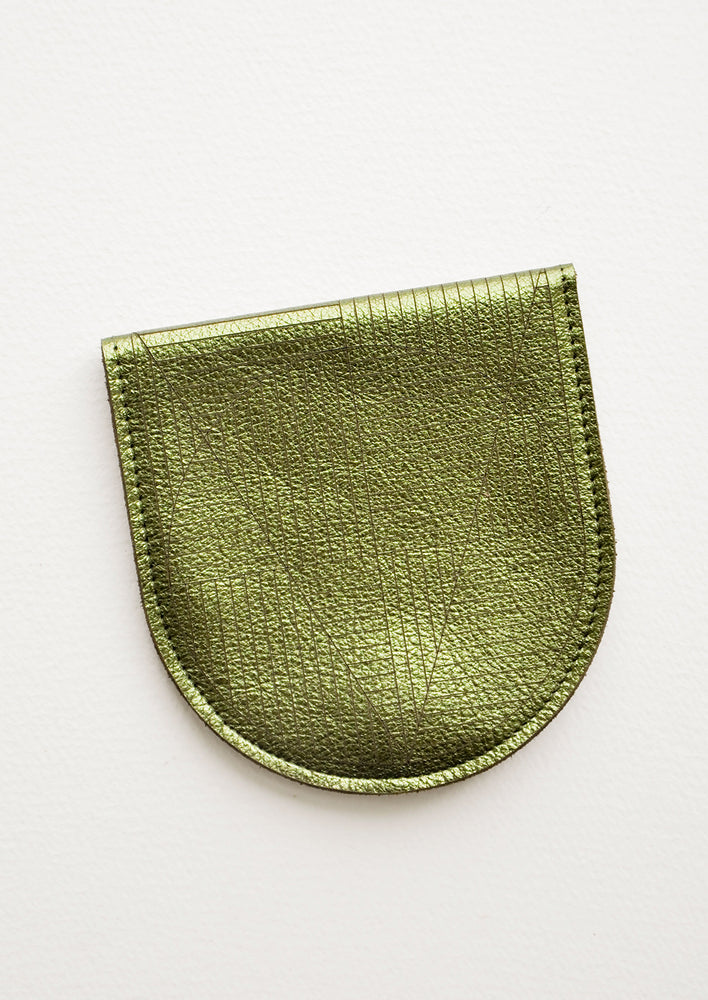 Metallic Olive: A metallic green leather half-oval wallet with a subtle geometric pattern.