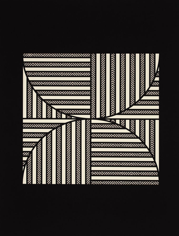 1: A rectangular black canvas with a central square composed of alternating black and white sections of stripes.