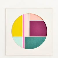 Neon Pink Multi: Square artwork with off-white background and color blocked, laser-cut circle