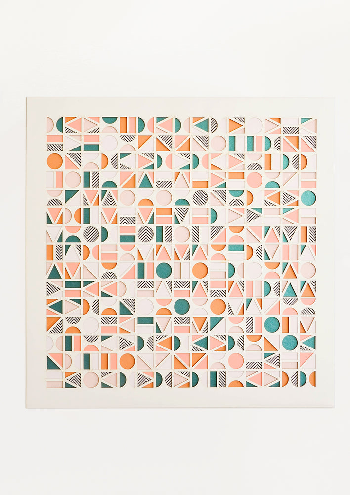 1: Square artwork with layered paper design in multicolor geometric pattern