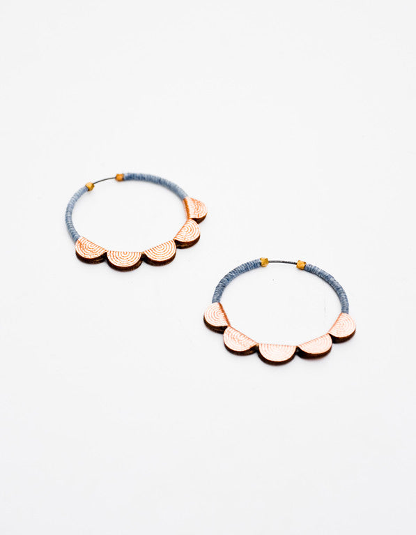 Leather Scallop Hoop Earrings