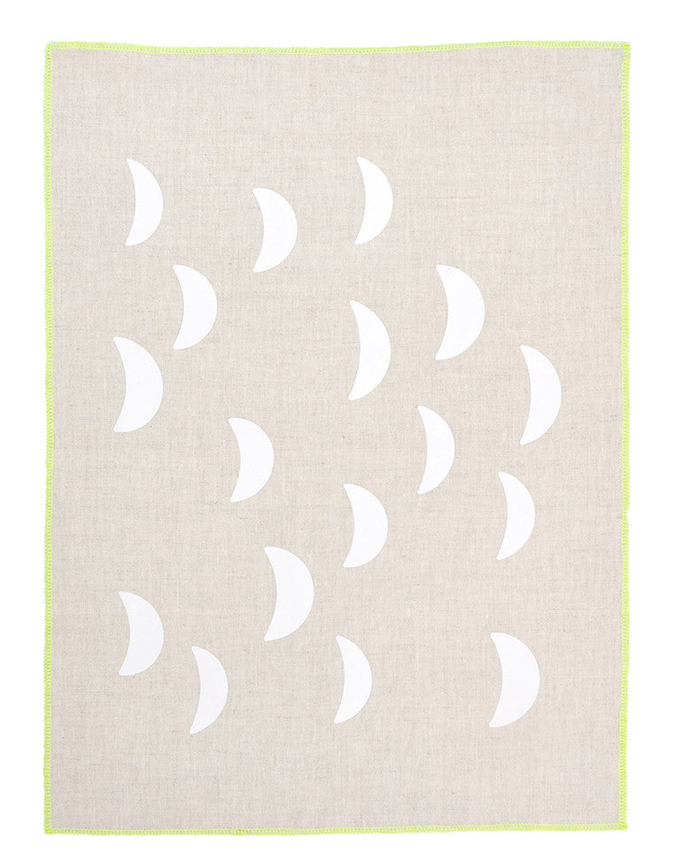 Natural / White: Moons Tea Towel in Natural / White - LEIF
