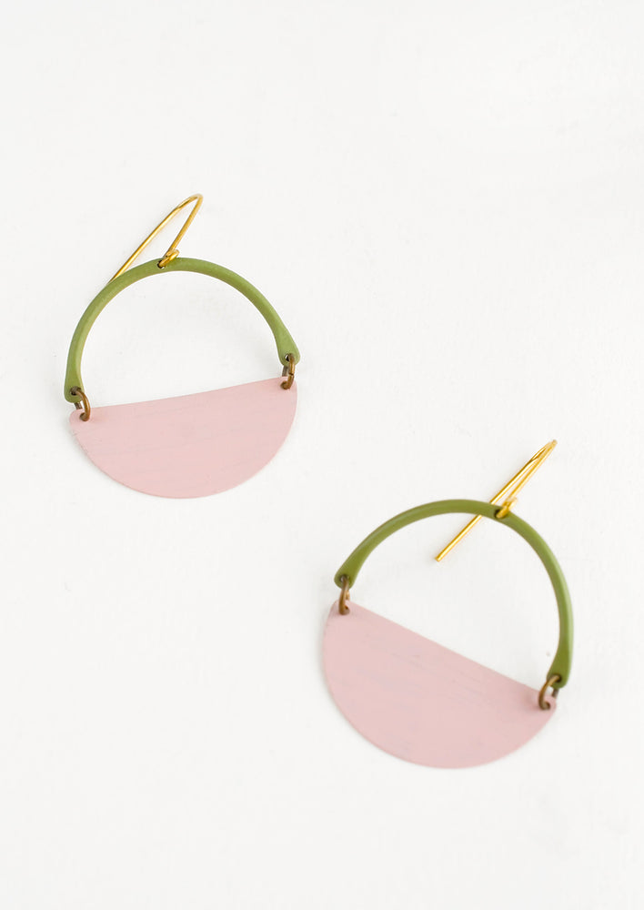 Olive / Rose: Earrings with olive arc shaped top and pink half moon shaped bottom with negative space in middle