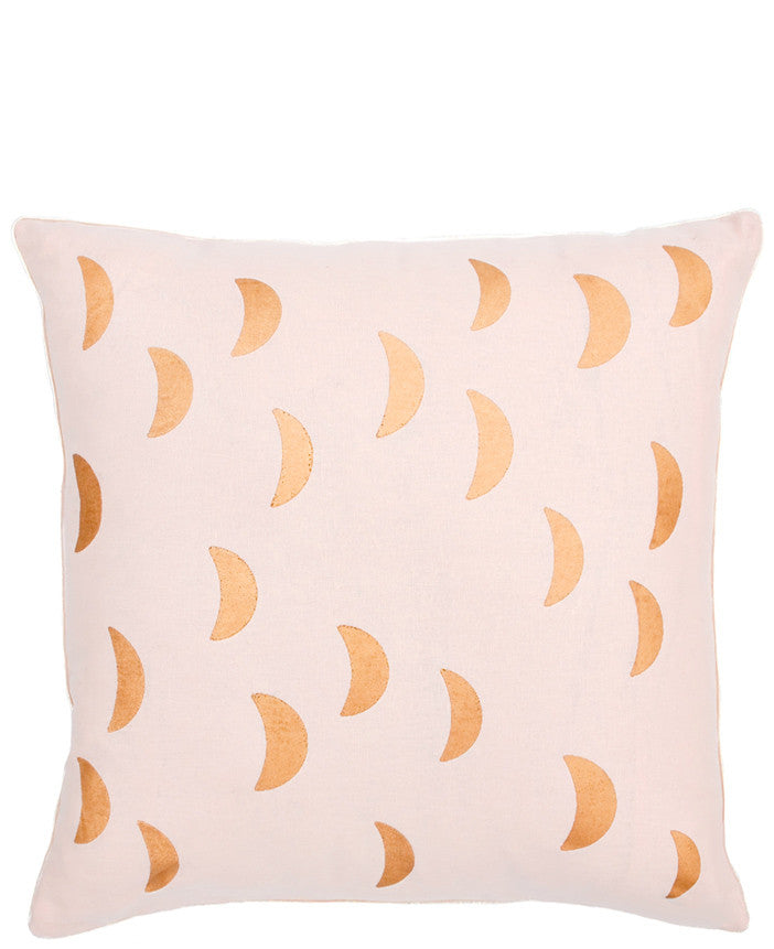 Blush / Gold [$54.99]: Square Throw Pillow in Light Pink Linen Blend, Screen Printed Crescent Moon Pattern on Front in Metallic Gold