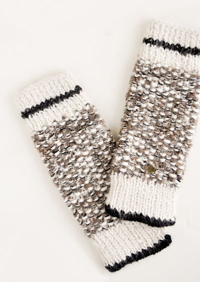Mottled Alpaca Fingerless Gloves in Ivory / Oak - LEIF