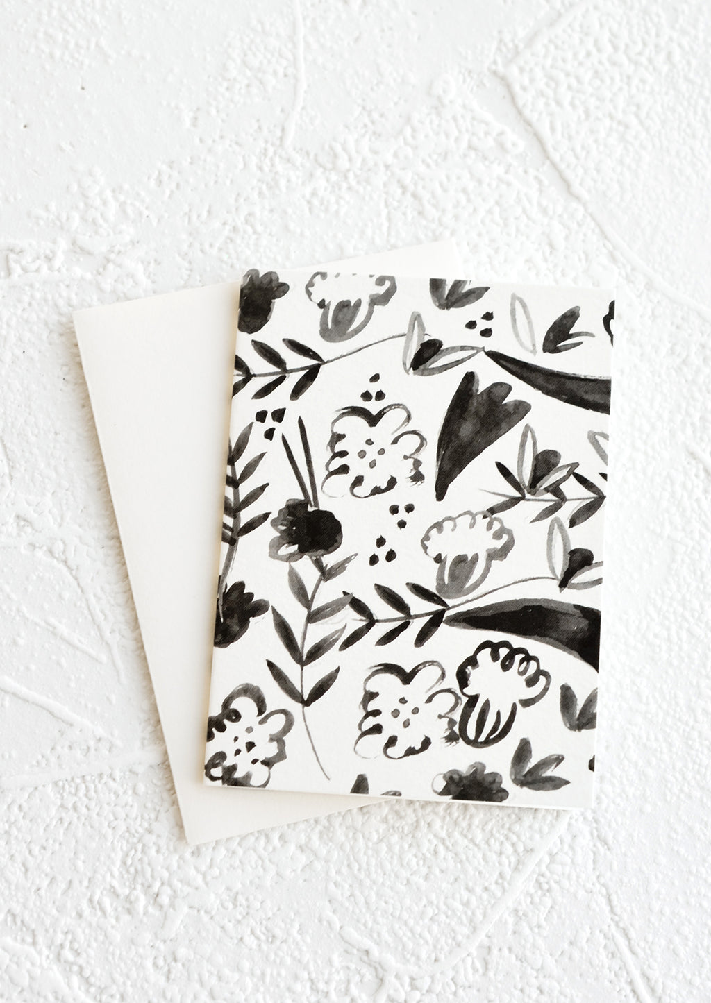 Black Fleurs: A gift enclosure greeting card with a black and white floral print.