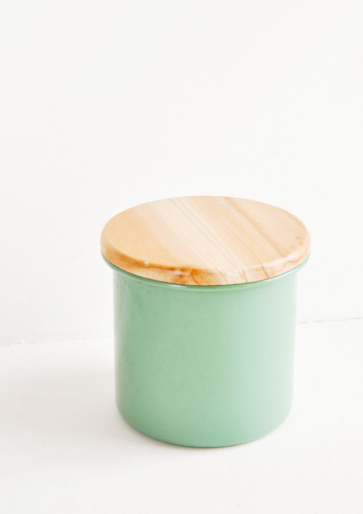 Lagoon: Enamel Storage Jar in Green with Wooden Lid - LEIF