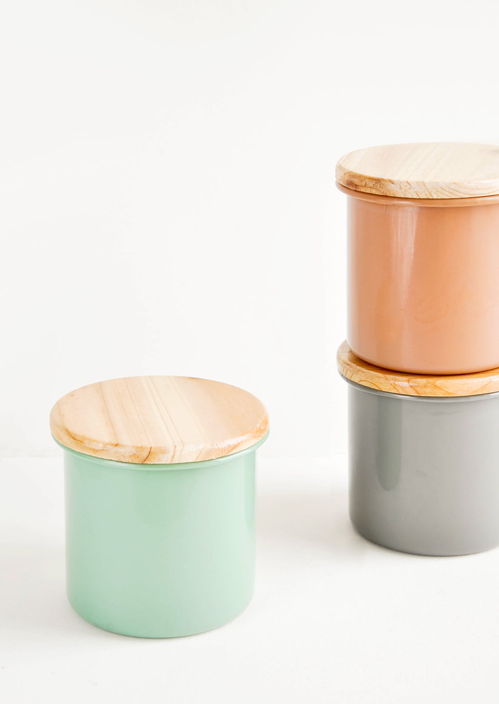 1: Enamel Storage Jars with Wooden Lids - LEIF