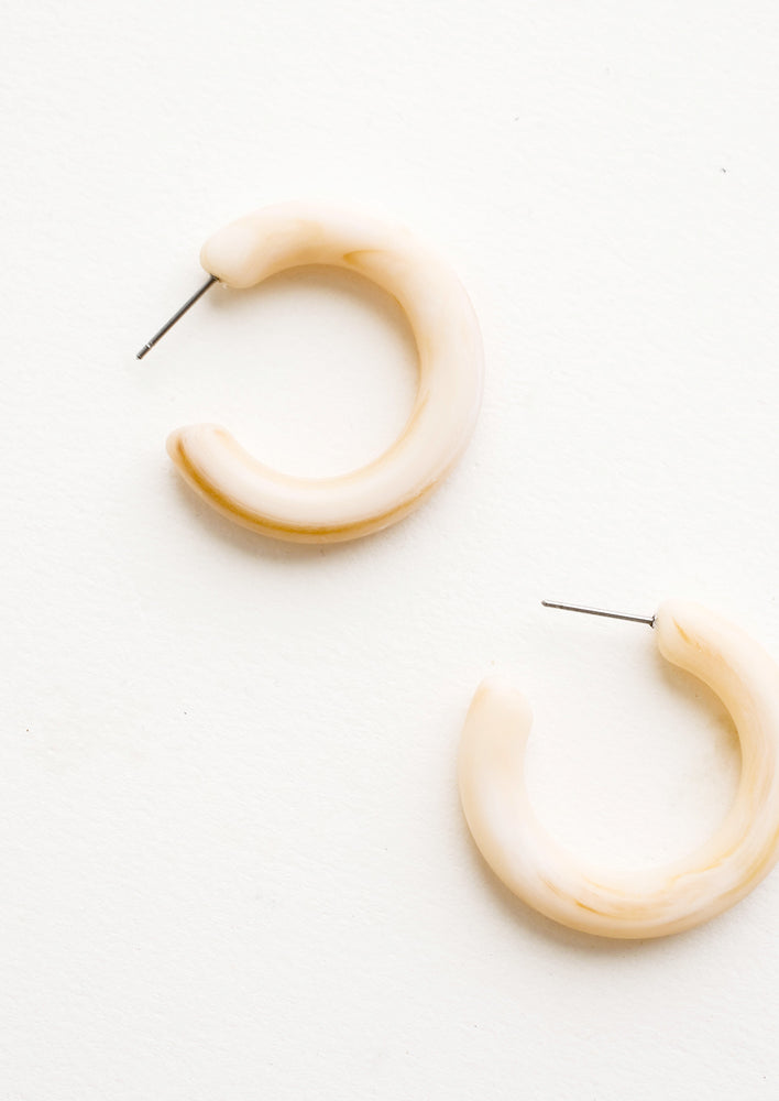 Oat Milk: Matte Resin Hoop Earrings
