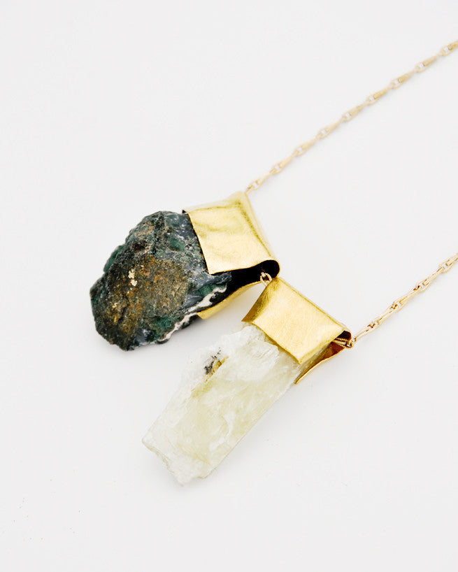 Hiddenite & Moss Agate Necklace - LEIF
