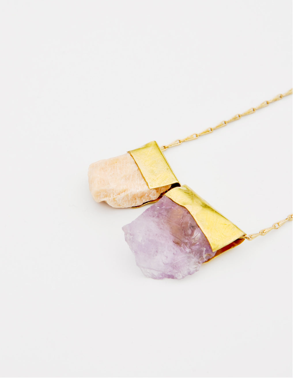 Amethyst & Peach Calcite Necklace