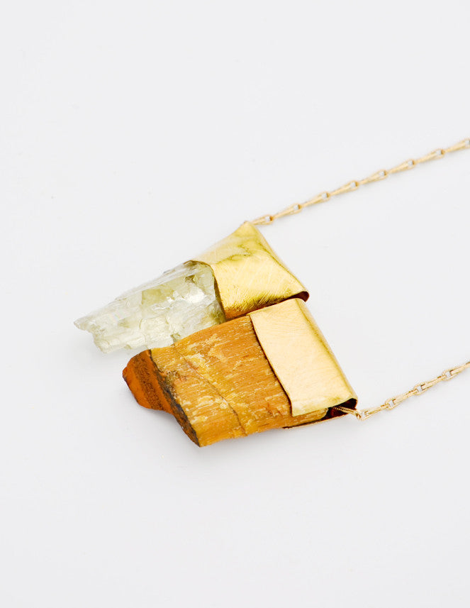 Hiddenite & Petrified Wood Necklace