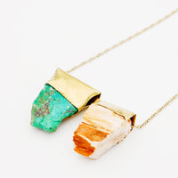 Petrified Wood & Chrysocolla Necklace - LEIF