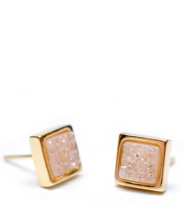 Natural Drusy Stud Earrings - LEIF