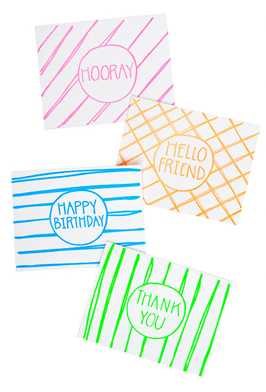 Neon Greetings Assorted Card Set - LEIF