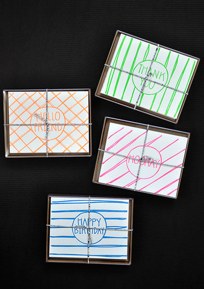 Neon Greetings Assorted Card Set