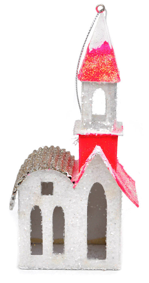 Glittered Neon House Ornament - LEIF