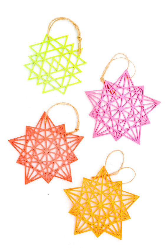 Neon Starburst Ornament Set