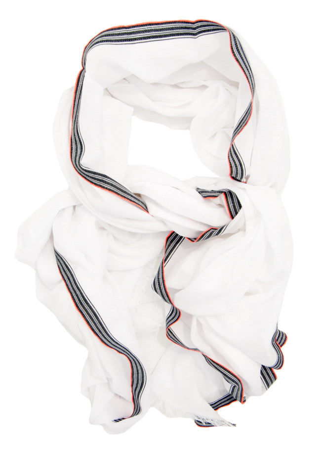 Neon Stripe Border Cotton Scarf - LEIF