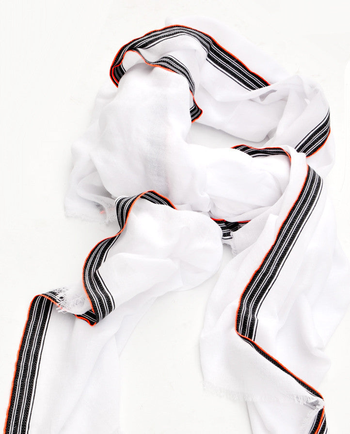 Neon Stripe Border Cotton Scarf